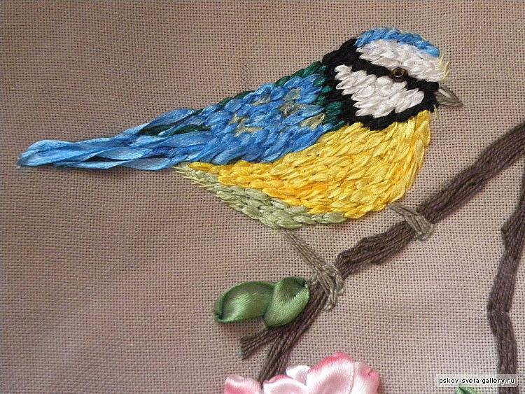 Схема вышивки лентами птиц 74
