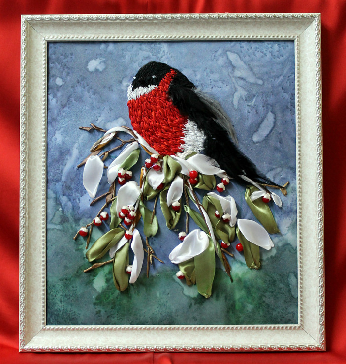Схема вышивки лентами птиц 14