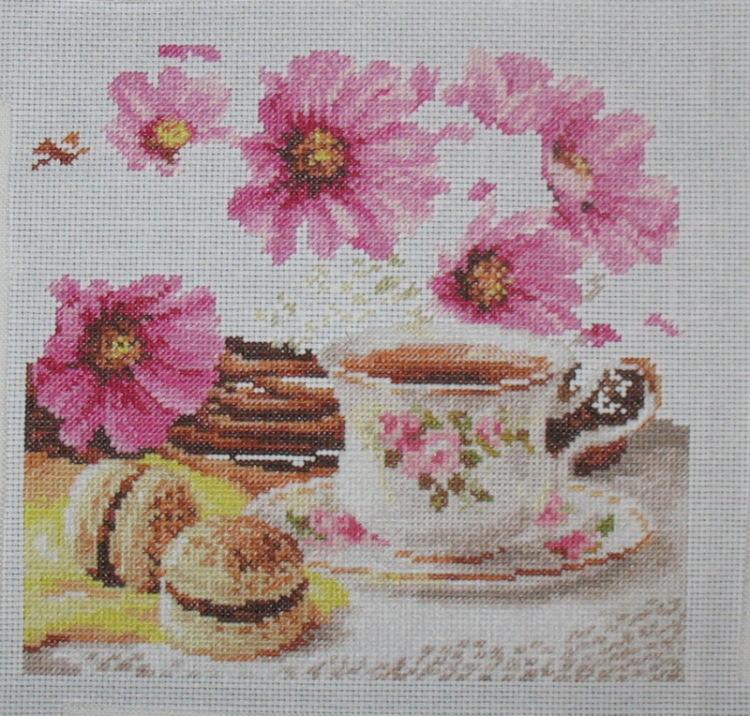 Вышивка утренний чай 48