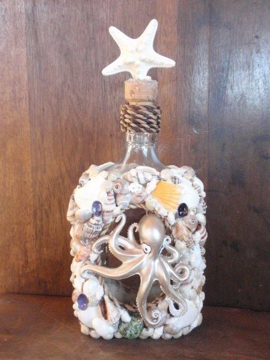 Как украсить бутылку ракушками своими руками 72