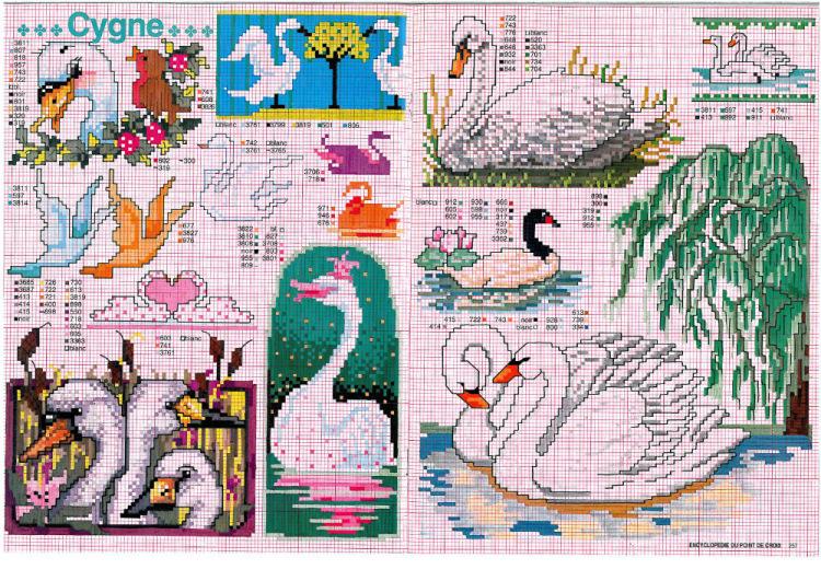 Легкие схемы вышивки лебедей
