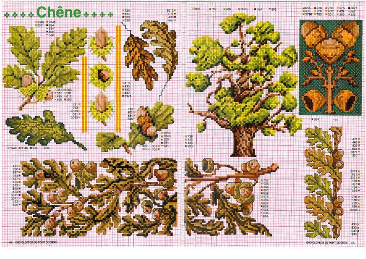 Дубовый лист схема вышивки