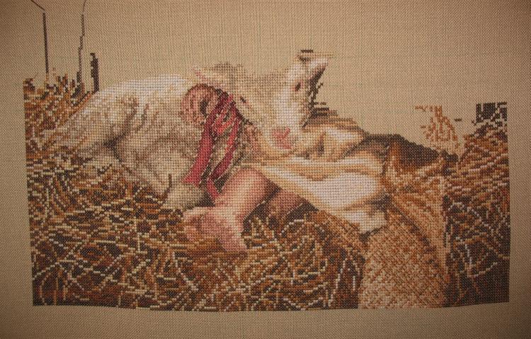 Вышивка крестом ангел с овечкой 63