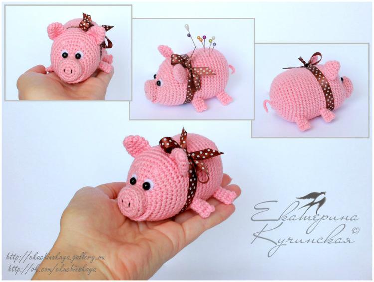 Вязание крючком игрушки свинка 120