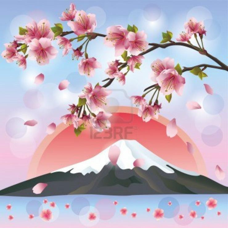 Сакура в горах рисунки