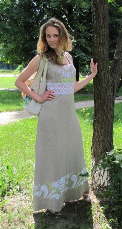 Платья Из Льна С Трикотажными Вставками