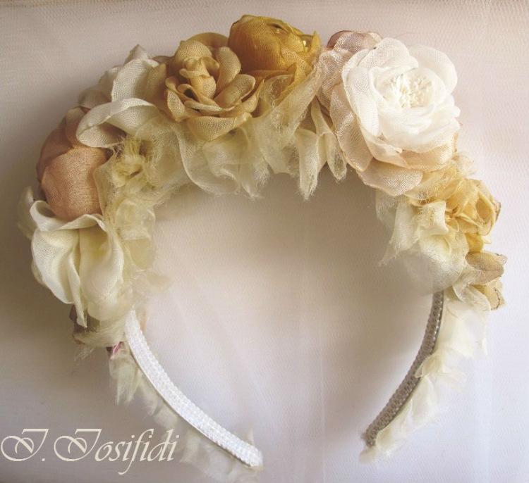 Большие цветы из ткани на голову 179