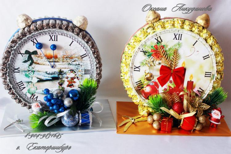 Новогодние часы из конфет мастер класс