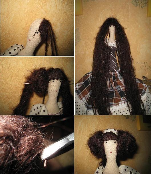 Мастер класс как сделать волосы для тильды