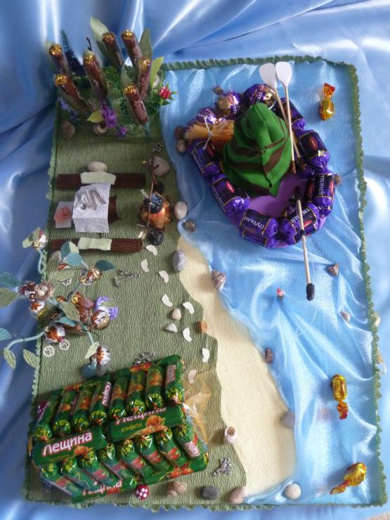 композиция рыбак из конфет фото