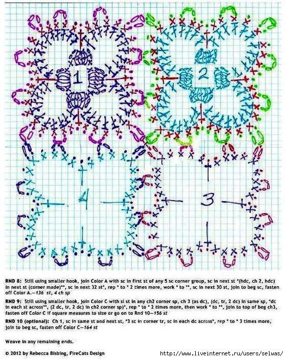 схемы фрагментов для пледа крючком