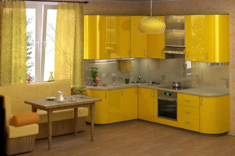 Дизайн кухни в желто-зеленом цвете фото