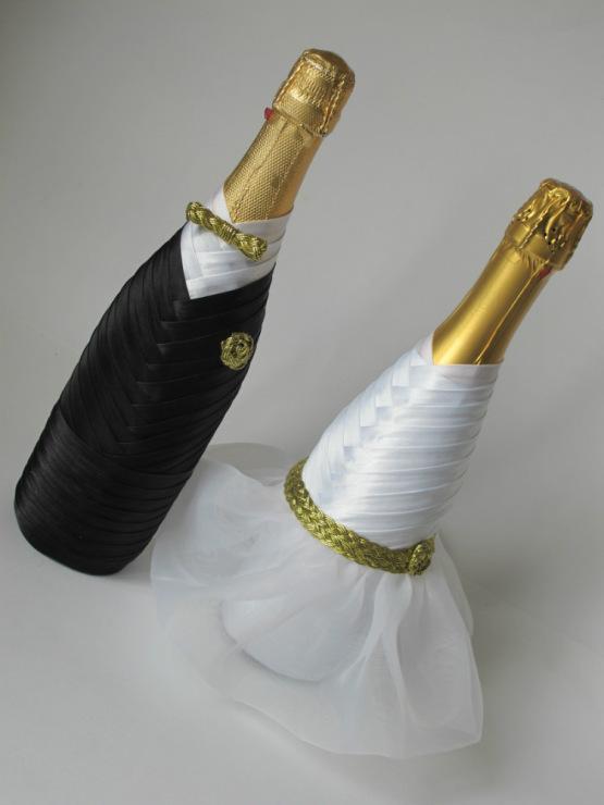 Свадебные бутылки своими руками мастер класс фото из косой бейки