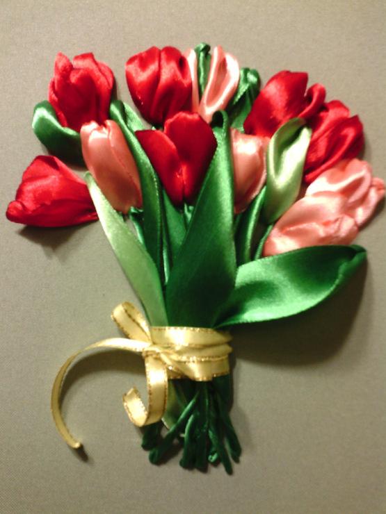 Тюльпаны из лент атласных лент своими руками мастер класс 56