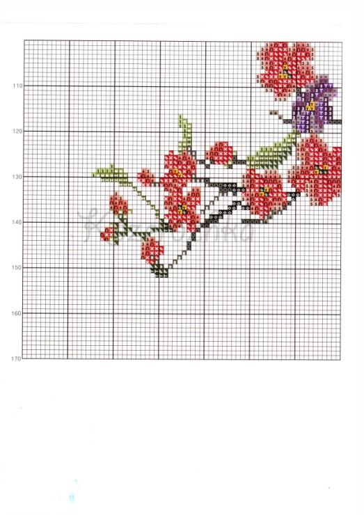 Схема к вышивке ветка сакуры 447