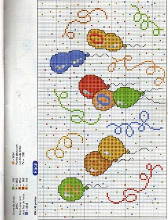 Схема вышивки с воздушными шариками