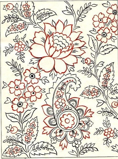 Узор для вышиванья на ткани