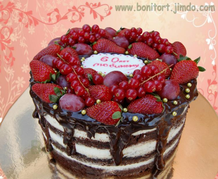 Торт с крем чизом и ягодами