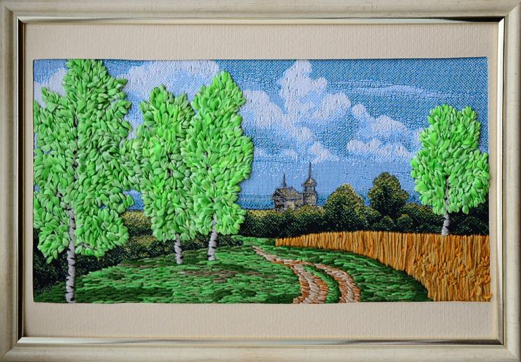 Вышивка дерева лентами 65