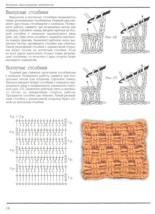 Вязание вогнутых и выпуклых столбиков