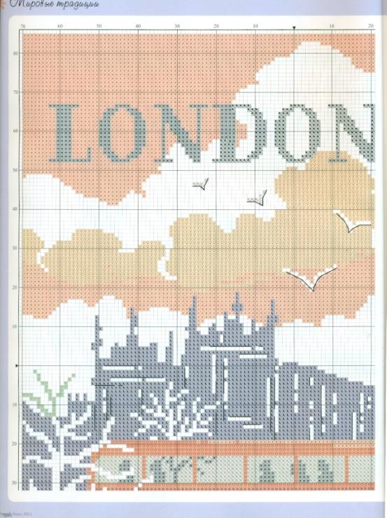 Схема для вышивки лондонский автобус 97